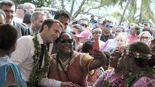 El presidente francés, Emmanuel Macron, durante su visita a Nueva Caledonia en 2018