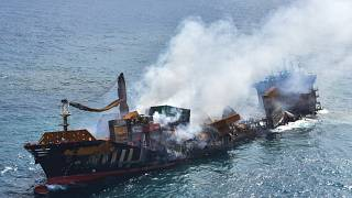 This photo provided by Sri Lankan Air Force shows the sinking MV X-Press Pearl at Kapungoda where it is anchored off Colombo port, Sri Lanka, Wednesday, June 2, 2021.