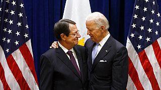 U.S. Vice President Joe Biden, right, meets with President Nicos Anastasiades of Cyprus