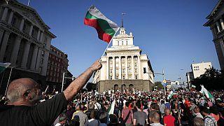 Tüntetés Szófiában Deljan Pejevszki kinevezése ellen a Nemzetbiztonsági Ügynökség élére, 2013.