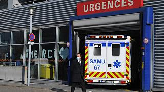 An ambulance arrives at the emergency unit of Strasbourg hospital, on November 6, 2020, amid the sanitary crisis linked with the covid-19 pandemic caused by the coronavirus.