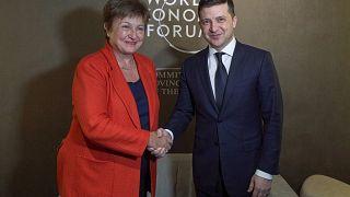 IMF Başkanı Kristalina Georgieva ve Ukrayna Cumhurbaşkanı Volodimir Zelenskiy