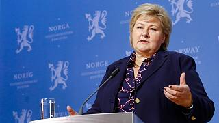 Norway's Prime Minister Erna Solberg, speaks during a press conference in Oslo, Monday, Jan. 20, 2020.
