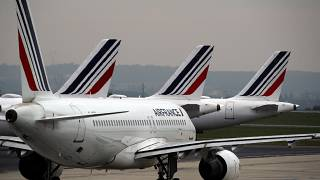 In this May 17, 2019 file photo, Air France planes are parked on the tarmac at Paris Charles de Gaulle airport, in Roissy, near Paris.