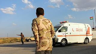 An ambulance outside a makeshift clinic in Salhiya on Tuesday, Sept. 30, 2014.