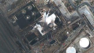 حريق في شركة توندجويان للبتروكيماويات المملوكة للدولة جنوب طهران - إيران.