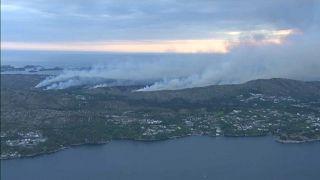 Der Waldbrand an der Westküste Norwegens nahe Bergen