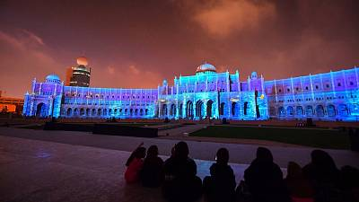 The Municipality Headquarters is lit up in a colourful display for the 10th annual Sharjah Light Festival in the Emirate of Sharjah