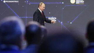 Russian President Vladimir Putin attends the St. Petersburg International Economic Forum in St. Petersburg, Russia, Friday, June 4, 2021.