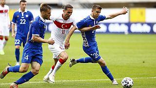 Türkiye'nin 2020 Avrupa Futbol Şampiyonası için Moldova ile yaptığı hazırlık maçından bir görüntü.
