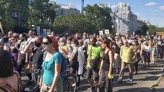 """A """"Tüntetés a Diákvárosért, a Fidesz ellen!"""" elnevezésű demonstráció, Budapest, 2021. június 5."""