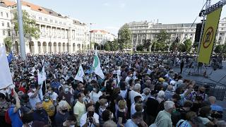 Protesters gather in downtown Budapest, Hungary, Saturday, June 5, 2021.