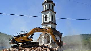 An orthodox church is demolished in Konjevic Polje, the village next to Srebrenica in Bosnia, Saturday, June 5, 2021.