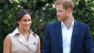 In this Oct. 2, 2019, file photo, Britain's Prince Harry and Meghan Markle appear.