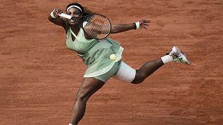 United States Serena Williams plays a return to Kazakhstan's Elena Rybakina during their fourth round match on day 8, of the French Open tennis tournament.