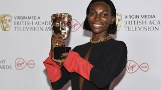 Michaela Coel poses for photographers with his Leading Actress award for her role in 'I May Destroy You' at the British Academy Television Awards in London, June 6, 2021.