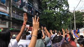 70 protesters march through Myanmar's Yangon city