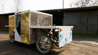 Nikita Poddubnov's solar powered vehicle which the young Russian built himself from scratch.