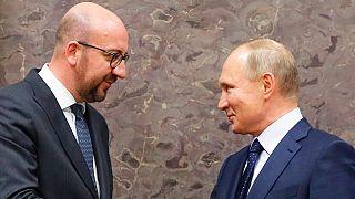 AB Konseyi Başkanı Charles Michel ve Rusya Devlet Başkanı Vladimir Putin (Arşiv, 2018)