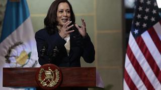 La vicepresidenta de EEUU, Kamala Harris, durante la rueda de prensa que ofreció junto al presidente de Guatemala, Alejandro Giammattei