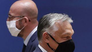 Charles Michel, az Európai Tanács elnöke és Orbán Viktor magyar miniszterelnök