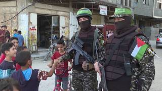 Members of the Ezzedine al-Qassam Brigades, armed wing of the Palestinian Hamas movement, parading in Gaza City