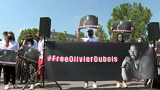 Manifestation pour la libération du journaliste Olivier Dubois