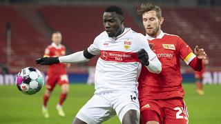 Silas Wamangituka in action for VfB Stuutgart during their Bundesliga match against FC Union Berlin.
