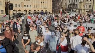 Pan right of the rally 'Together for Belarus' in Prague, June 7 2021