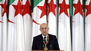 الرئيس الجزائري عبد المجيد تبون يلقي كلمة خلال حفل الافتتاح في القصر الرئاسي في الجزائر العاصمة، يوم الخميس 29 ديسمبر 2019