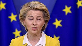 European Commission President Ursula von der Leyen at EU headquarters in Brussels, April 14, 2021.