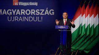 Orbán Viktor a Világgazdaság üzleti napilap Magyarország újraindításáról szervezett konferenciáján a Budapest Kongresszusi Központ 2021. június 9-én.