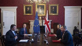 Britain's Minister for the Cabinet Office of the United Kingdom, David Frost, right, speaks to his EU counterpart Maros Sefcovic, during a meeting, in London, June 9, 2021.