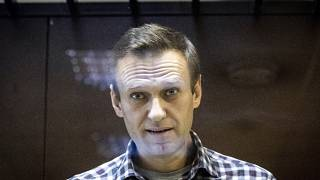 Russian opposition leader Alexei Navalny in the Babuskinsky District Court in Moscow, Russia on Feb. 20, 2021.