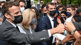 Emannuel Macron a délkelet-franciaországi Valence-ben, 2021. június 8-án
