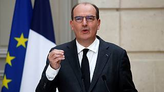 French Prime Minister Jean Castex speaks during a news conference at the Elysee Palace in Paris, France, Wednesday, April 28, 2021.