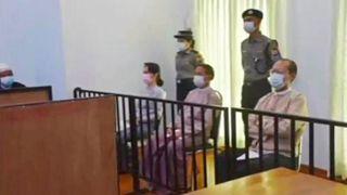 دادگاه آنگ سان سوچی در ۲۴ مه ۲۰۲۱ (۳ خرداد ۱۴۰۰)