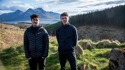 Ross Gillies and Ross Camilli in the island of Raasay, Scotland.