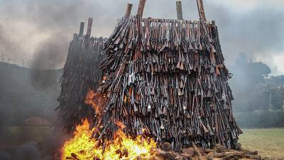 Kenya burns over 5,000 illegal firearms to curb crime
