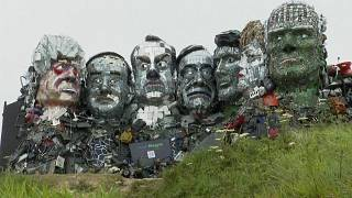 'Mount Recyclemore' is a giant sculpture of G-7 leaders made from electronic waste
