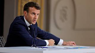 French President Emmanuel Macron speaks during a news conference ahead of the G7 Summit, at the Elysee Palace in Paris, Thursday, June 10, 2021.