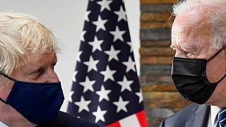 U.S. President Joe Biden, right, talks with Britain's Prime Minister Boris Johnson, during their meeting ahead of the G7 summit in Cornwall, Britain, Thursday June 10, 2021.