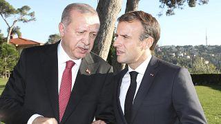 ماكرون وأردوغان في اسطنبول خلال عقد قمة في سوريا. 2018/10/27