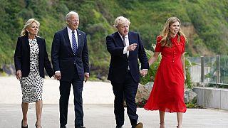 Jill und Joe Biden, Boris und Carrie Johnson in Carbis Bay in England