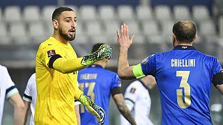Le gardien italien Gianluigi Donnarumma et le défenseur Giorgio Chiellini