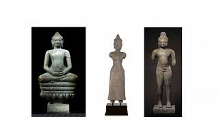 Naga üzerinde meditasyon yapan Bronz Buda (sol), Kumtaşı Prajnaparamita (orta) ve Kumtaşı Duran Shiva.