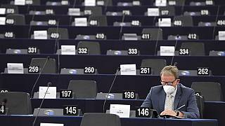 German European Parliament member Jens Gieseke attends the opening of the plenary session of the European Parliament in Strasbourg, eastern France, Monday June 7, 2021