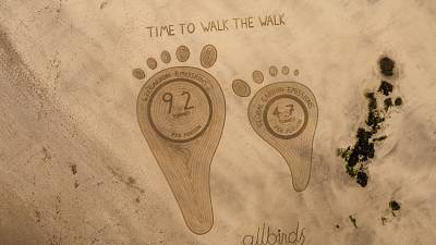 Footprints showing difference in carbon emissions, by One Man and his Rake