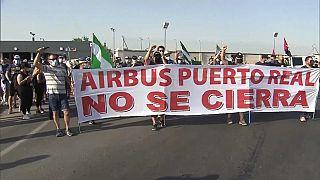 Manifestación de trabajadores de Airbus en Madrid