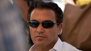 Yossi Cohen, then the director of Israel's Mossad intelligence agency, attends the funeral in Jerusalem of a rabbi killed by Palestinian gunmen on June 10